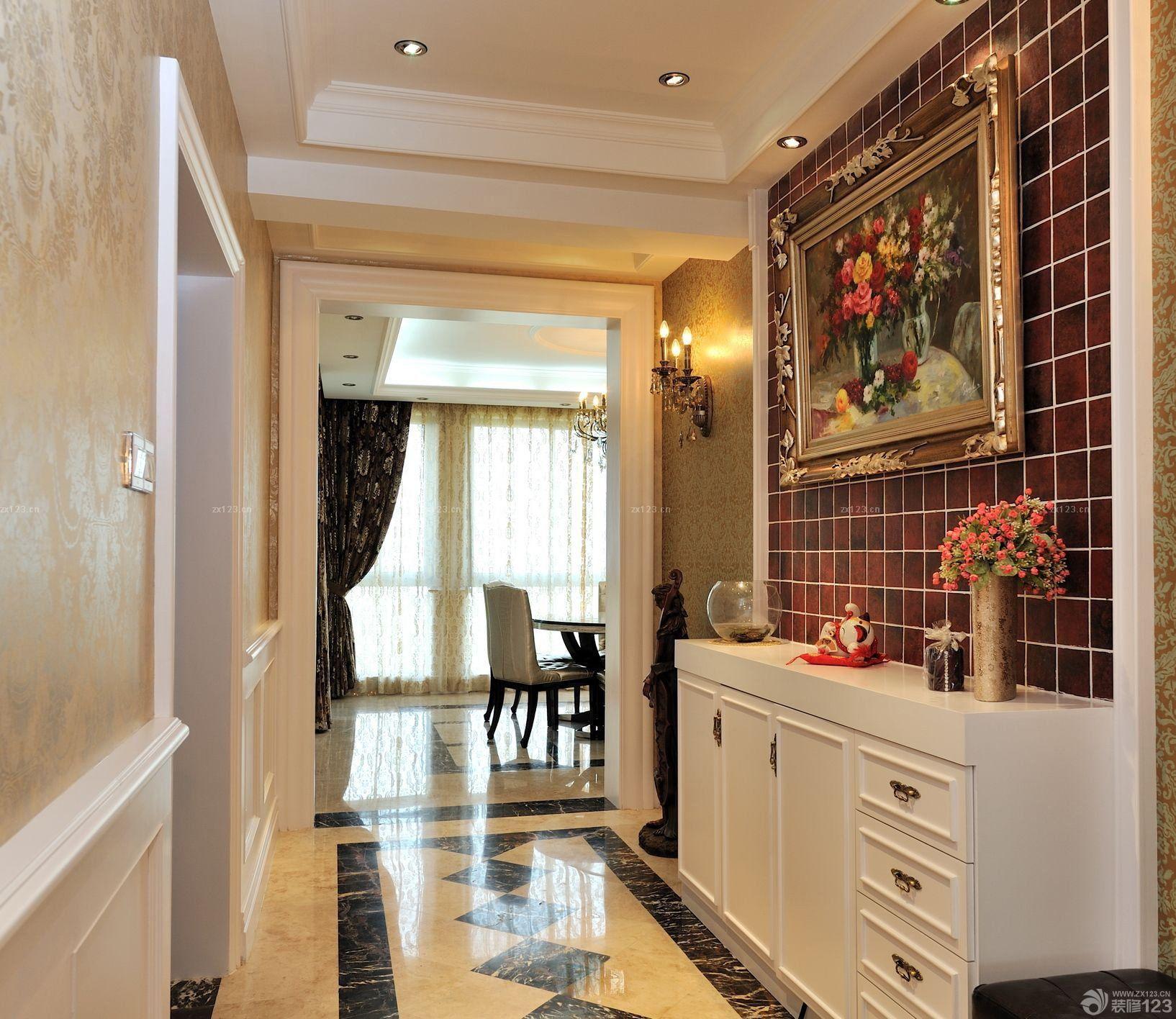 家庭门厅简欧风格鞋柜装饰图片