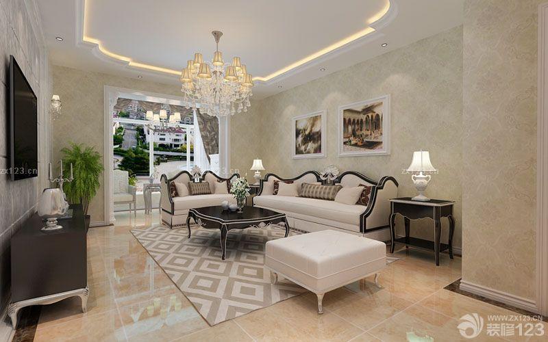 室内简欧风格客厅吊顶造型效果图欣赏