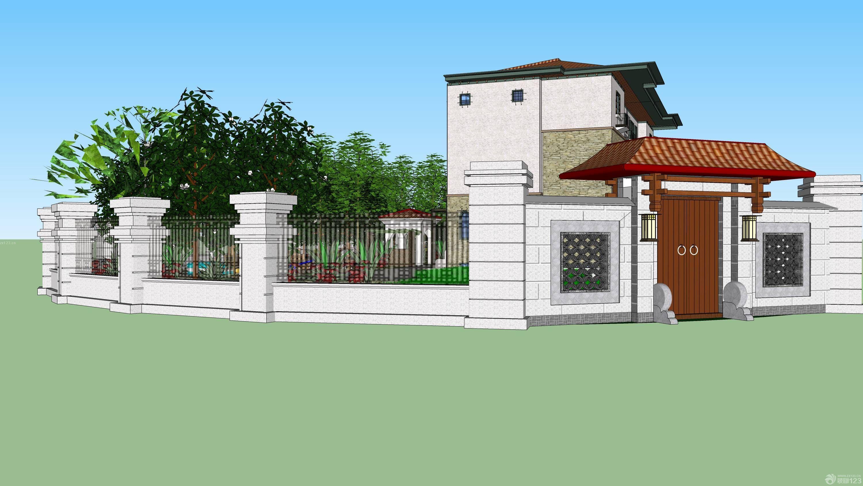 2015三层别墅围墙外观设计图片大全_设计456装修效果图