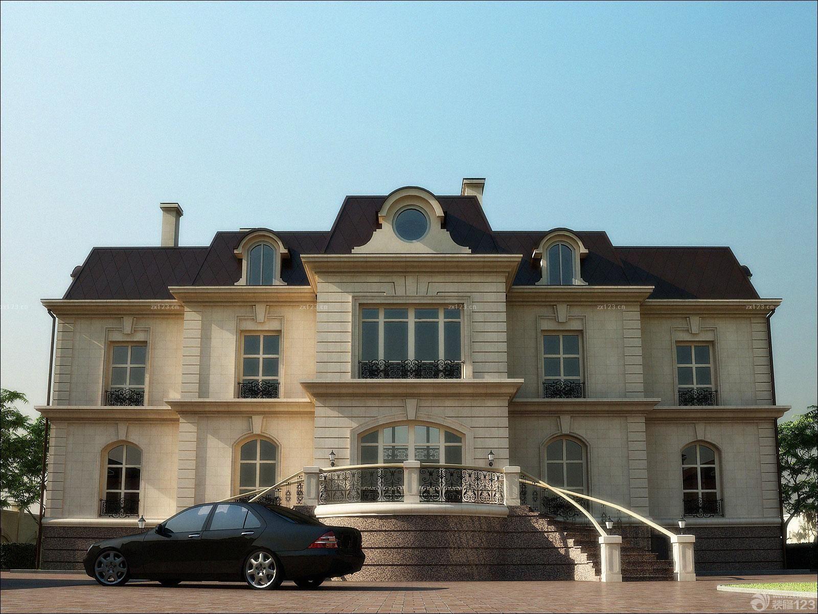 最新欧式别墅外观仿古砖墙面装修效果图片