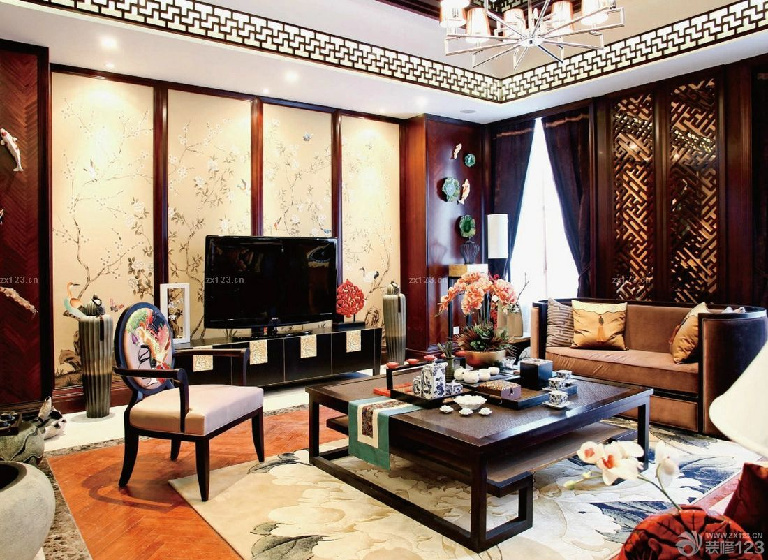 新中式电视背景墙设计效果图片