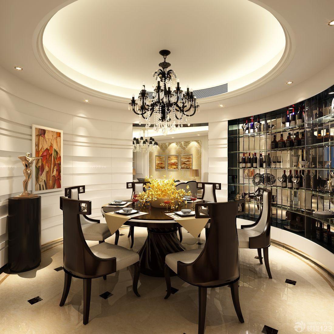 豪华别墅餐厅欧式酒柜装修效果图片