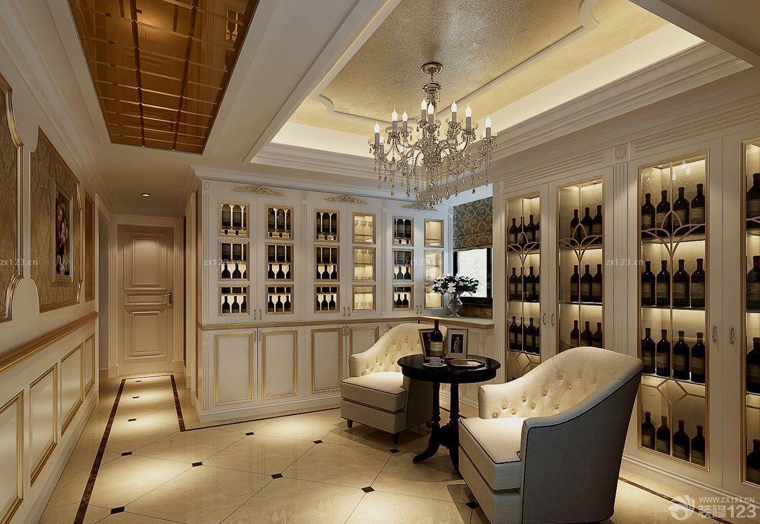 别墅室内欧式酒柜装修效果图片