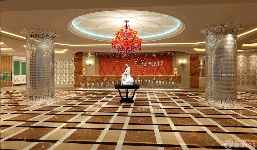 经典ktv大厅拼花地砖设计效果图片
