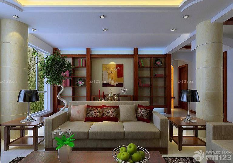 现代客厅博古架装修效果图
