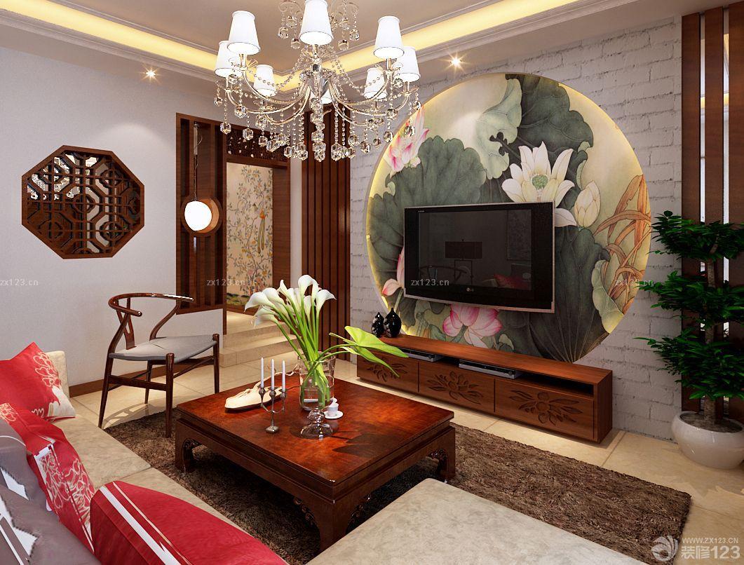 最新中式壁纸贴图电视背景墙设计图片