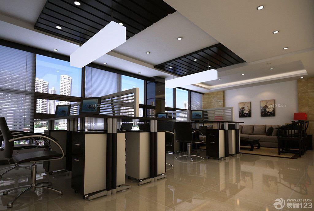 美式办公室木质吊顶装修实景图欣赏
