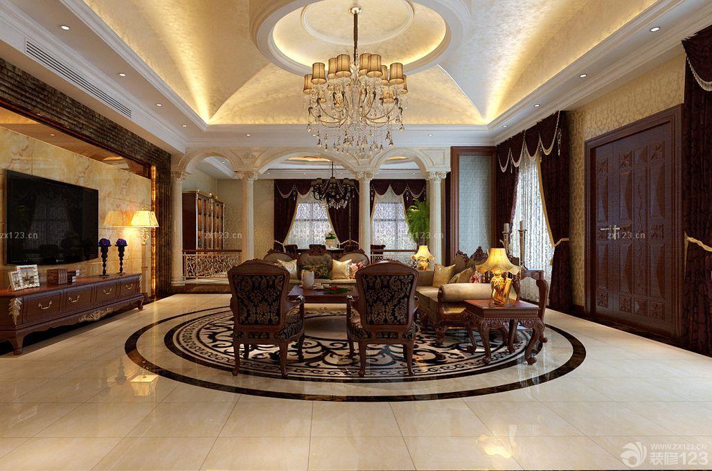 2015歐式風格客廳柱子裝修效果圖大全