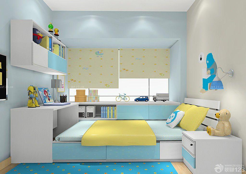 可爱卡通儿童卧室榻榻米床装修实景图欣赏