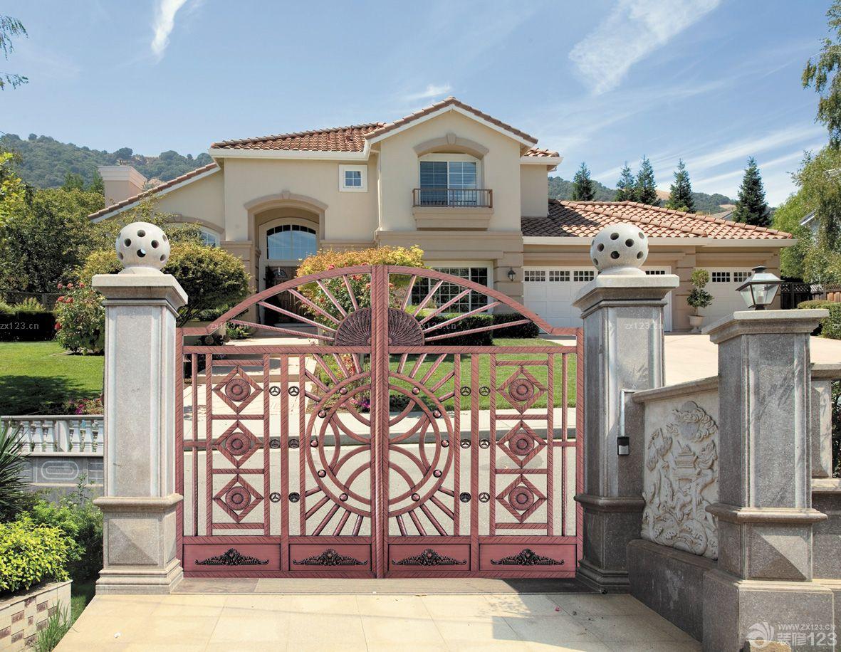 独立阳光别墅不锈钢围墙大门装修设计效果图