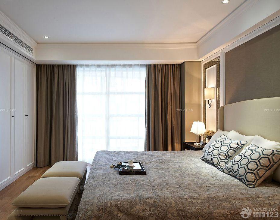 简约风格主卧室褐色窗帘装修设计图片