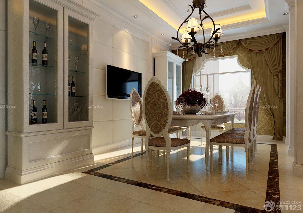 欧式家装玻璃门酒柜设计图片
