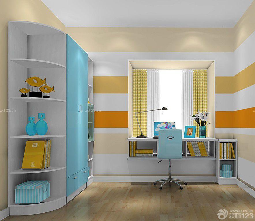 最新简约风格卧室飘窗书桌设计效果图
