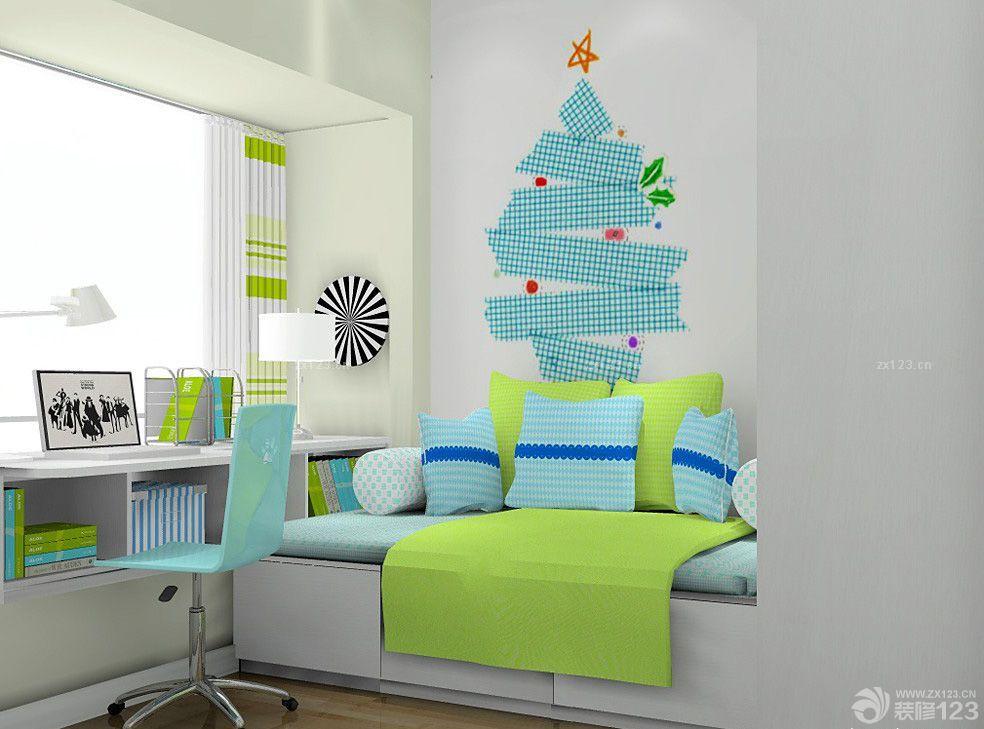 简约风格卧室儿童房间飘窗书桌设计图片欣赏