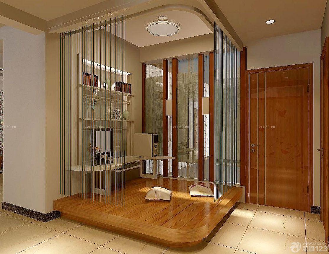 2016现代家装客厅珠帘隔断装修效果图