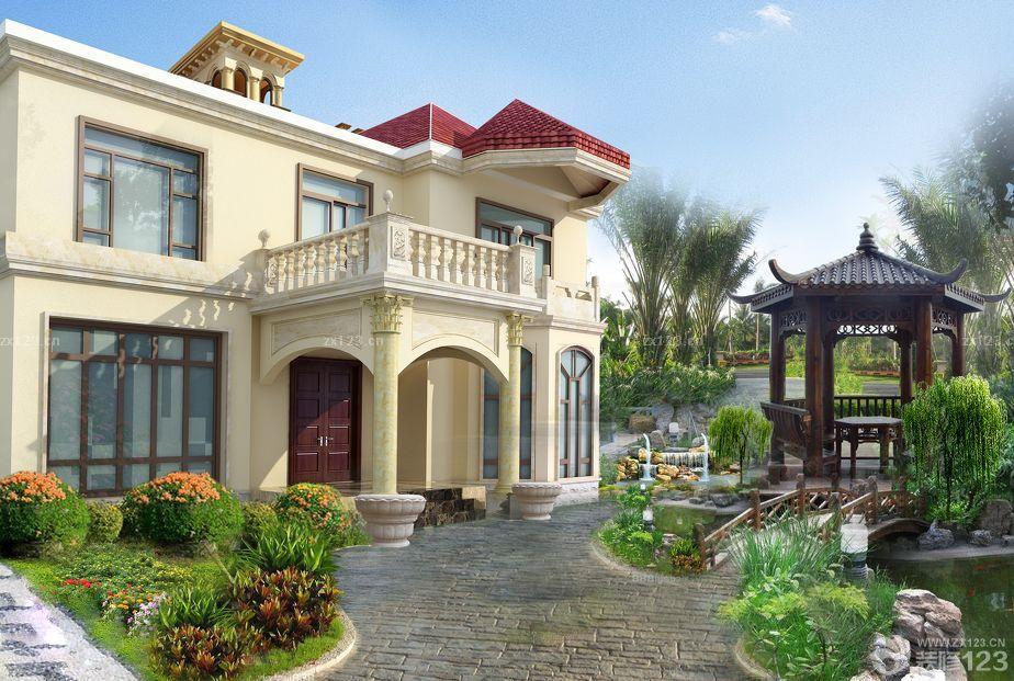 设计图分享 农村小洋房连体设计图  农村小院绿化设计效果图 宽300×