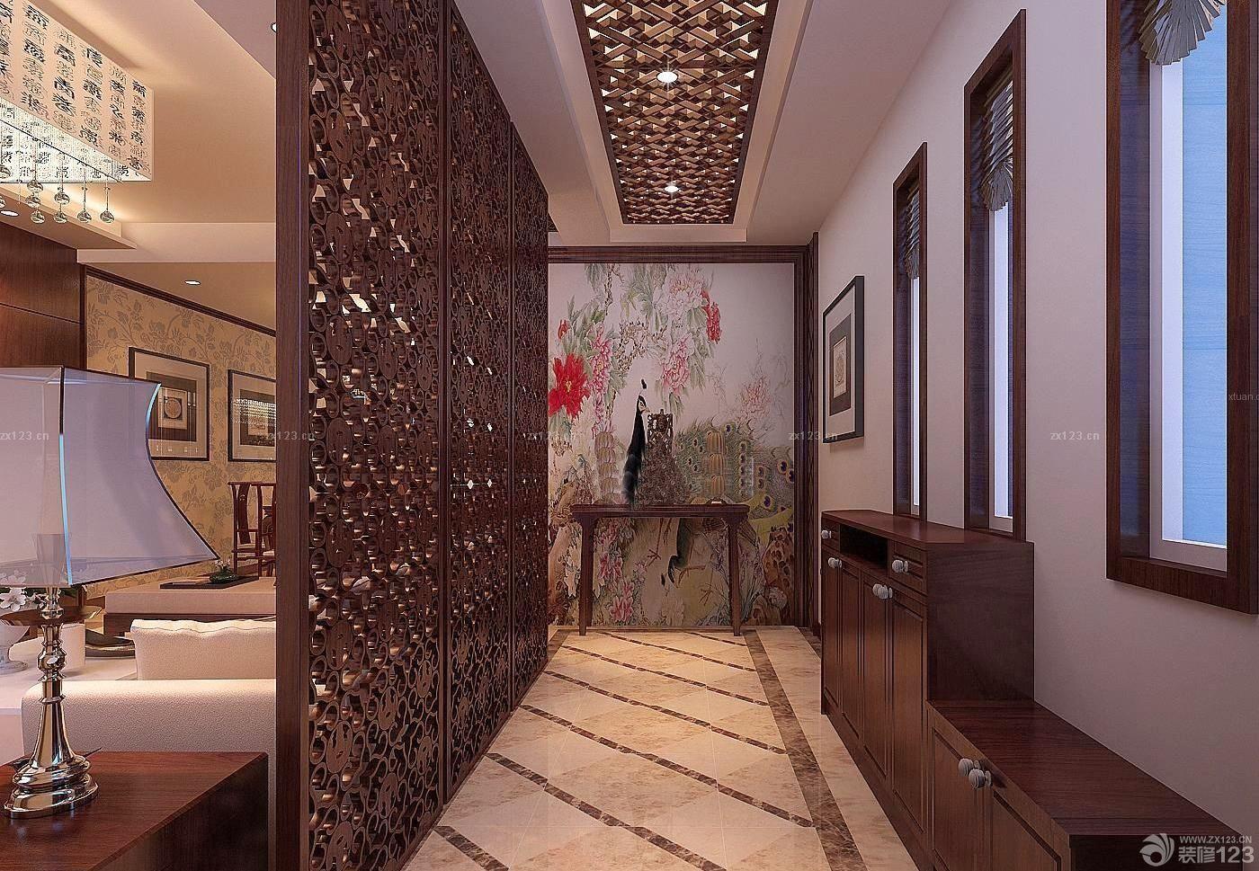 中式风格过道雕花吊顶设计图