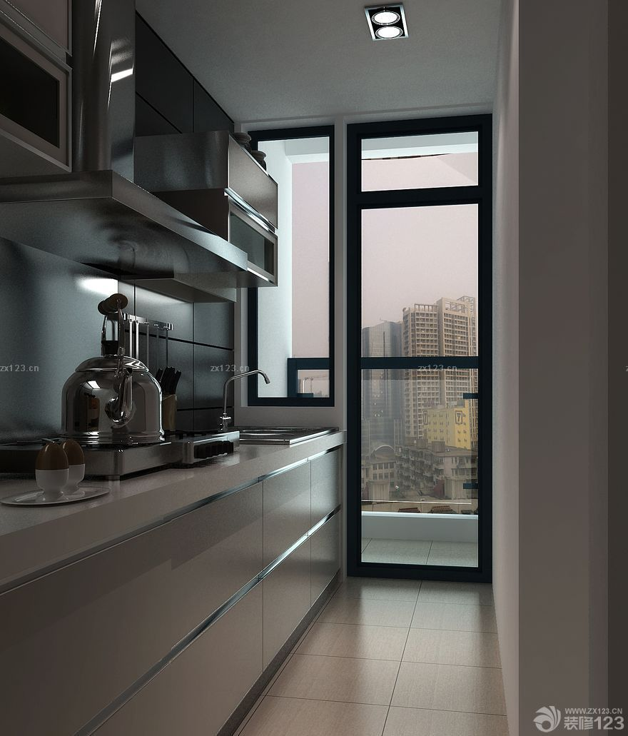 簡約廚房通往陽臺門黑色門框裝修效果圖片_設計456裝修效果圖