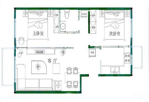 30平米小户型美式布艺沙发平面图欣赏