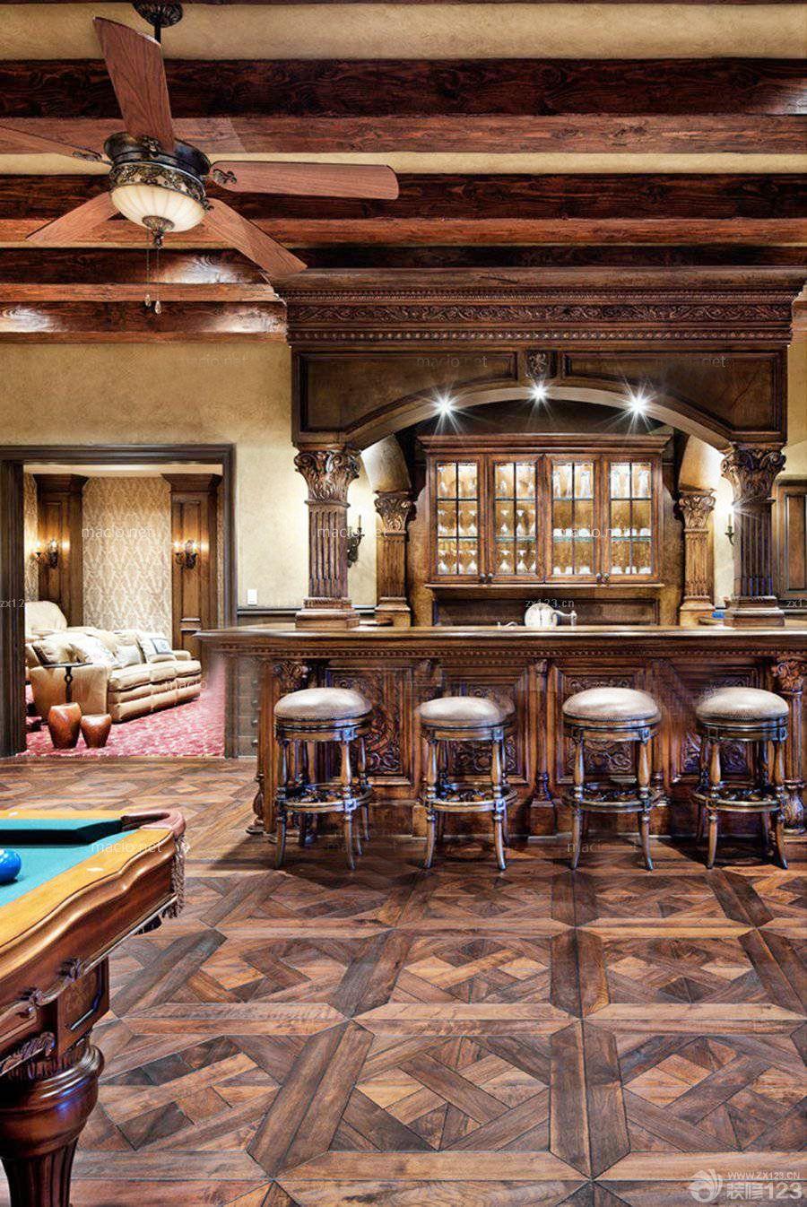 2016美式风格家庭酒吧设计图片