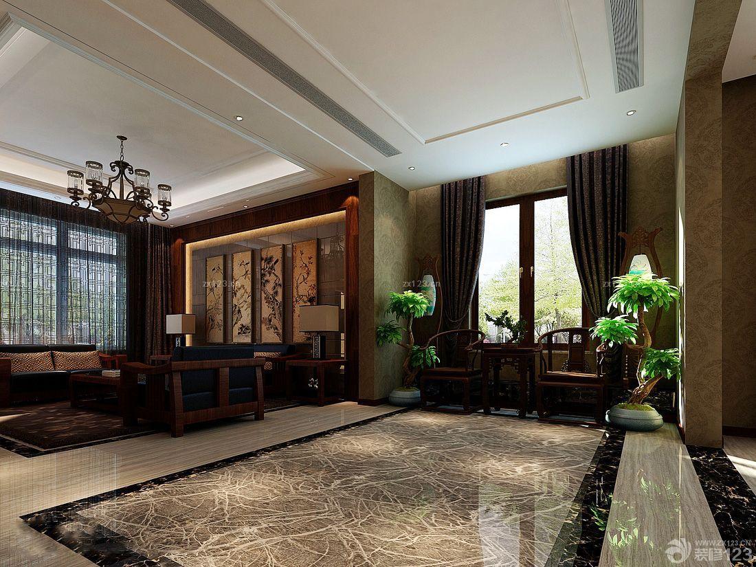 2016新中式家具大理石地板砖装修效果图