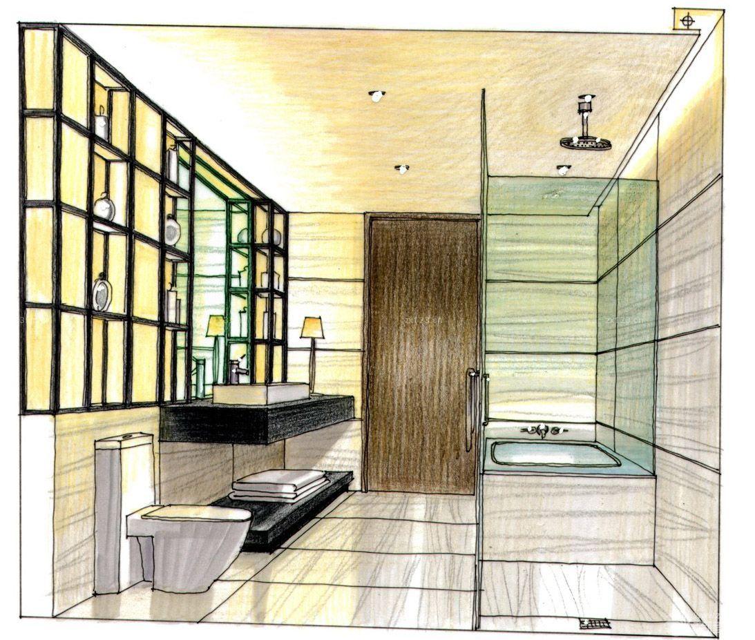 2016最新现代简约家装卫生间手绘设计图片