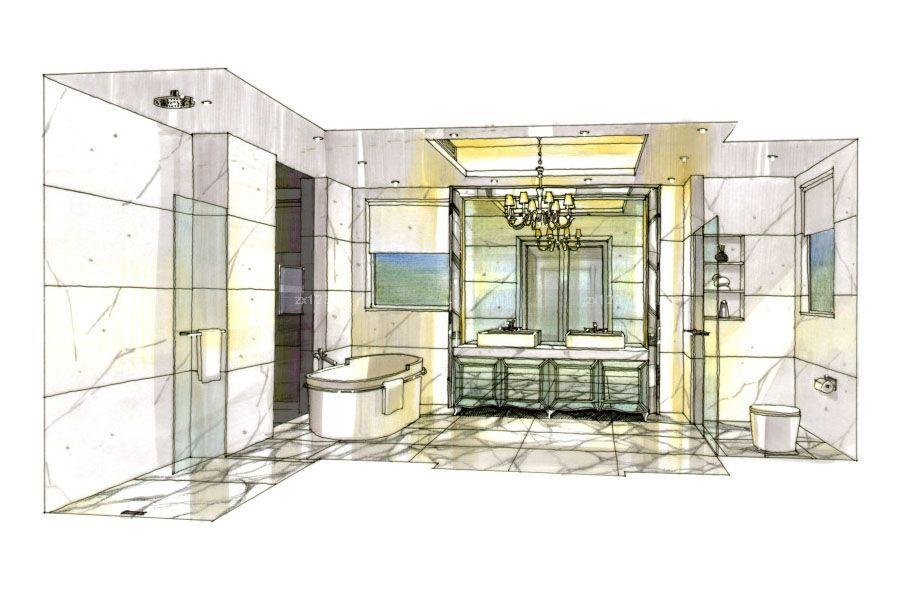 现代简约家装卫生间手绘设计图片