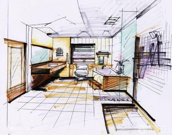 现代简约风格卫生间手绘设计图片欣赏
