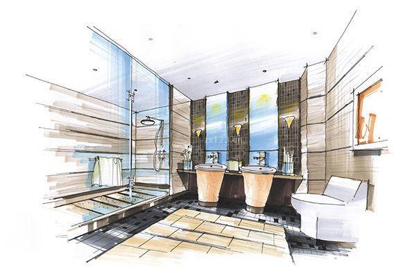 2016现代风格卫生间手绘设计效果图片