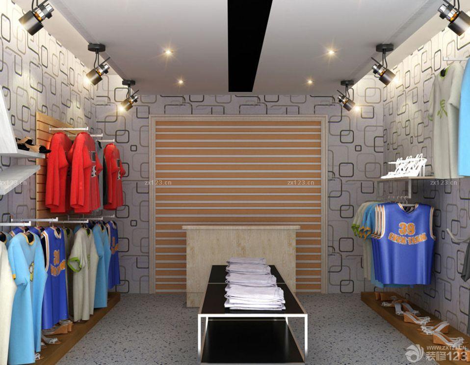 小型服装店个性壁纸装修图片