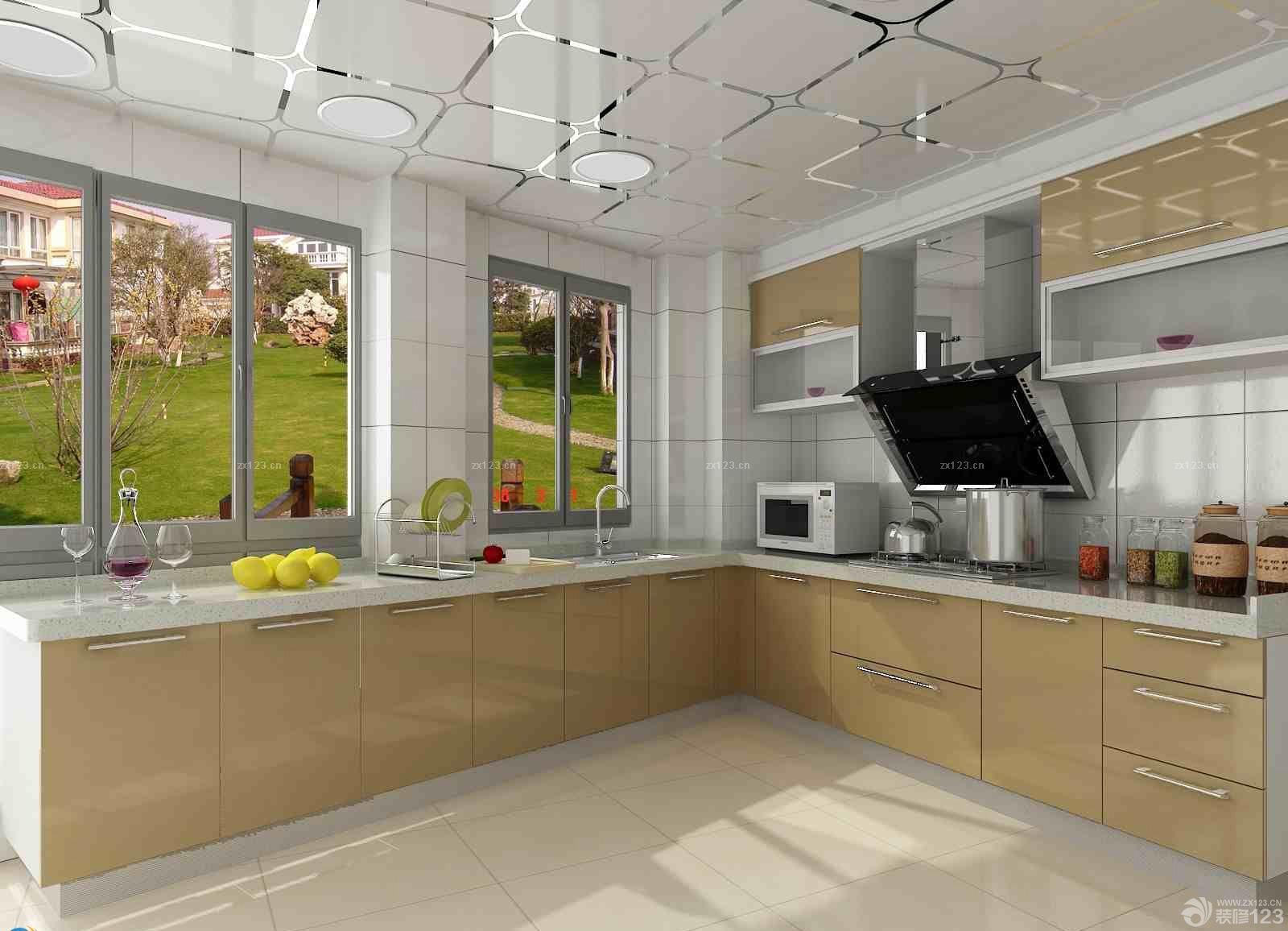 100平米房子玻璃橱柜装修效果图欣赏