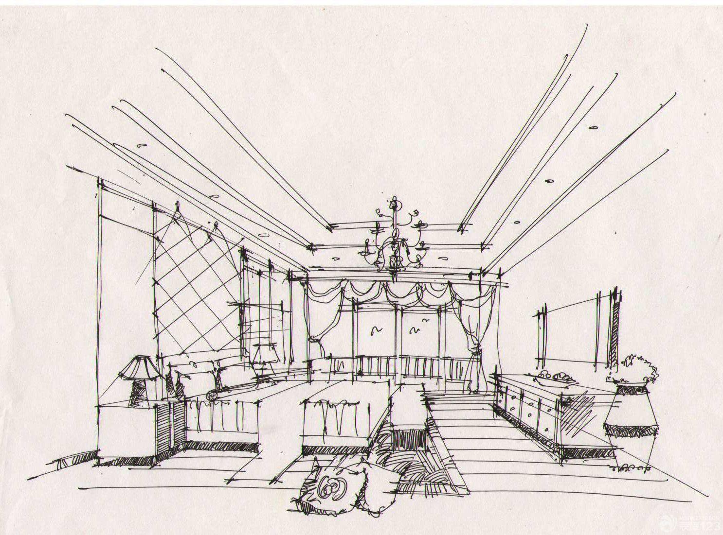 美式室内设计手绘效果图欣赏_设计456装修效果图