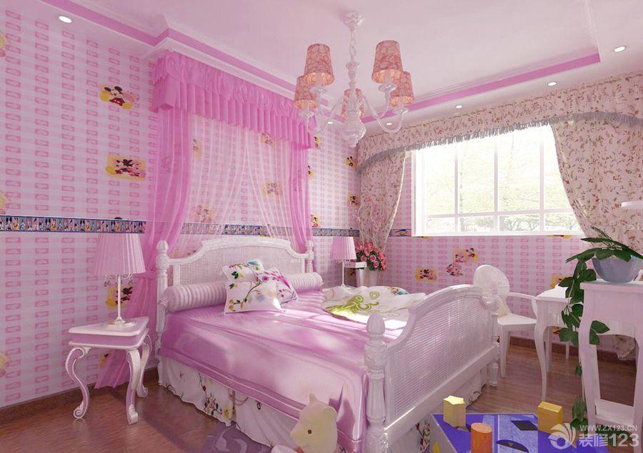 欧式风格公主房间小花窗帘设计效果图欣赏