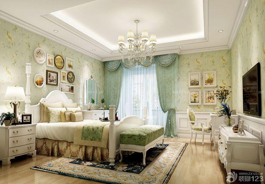 欧式主卧室小花窗帘设计图片大全_2016室内装修效果图