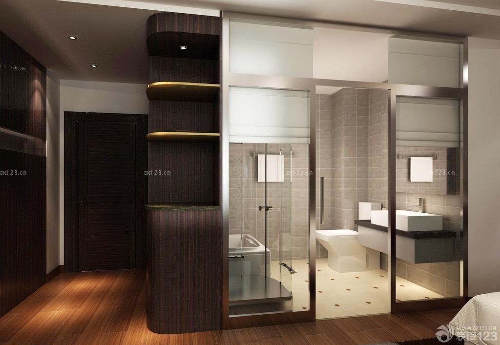 商务宾馆卫生间玻璃隔断设计图片大全 设计456装修效果图
