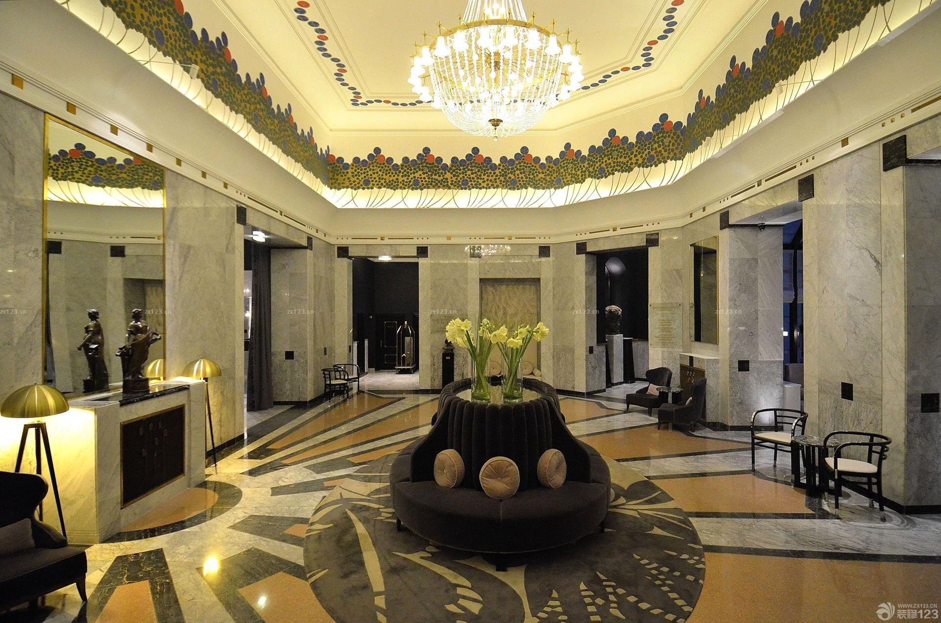 2016奢华欧式风格快捷酒店大堂吊顶装修图片欣赏