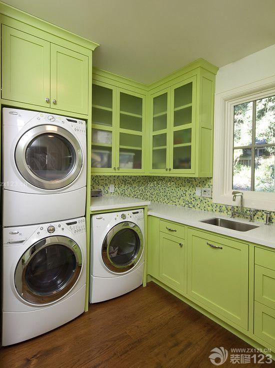 洗衣房綠色玻璃櫥柜裝修效果圖片大全