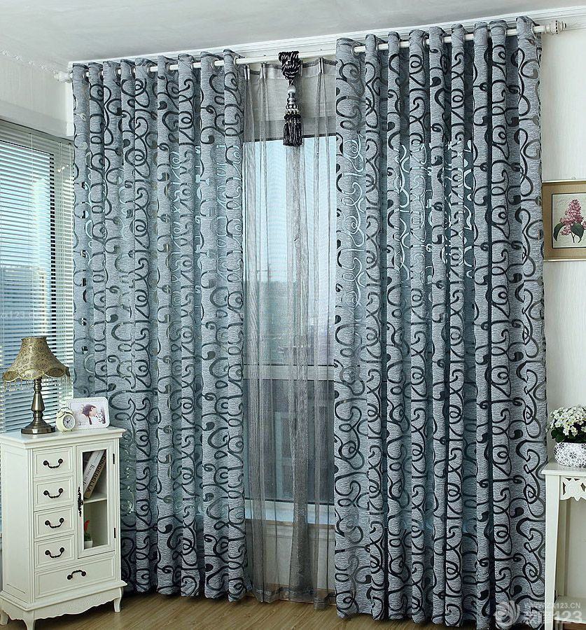 家装小户型客厅飘窗日韩窗帘效果图