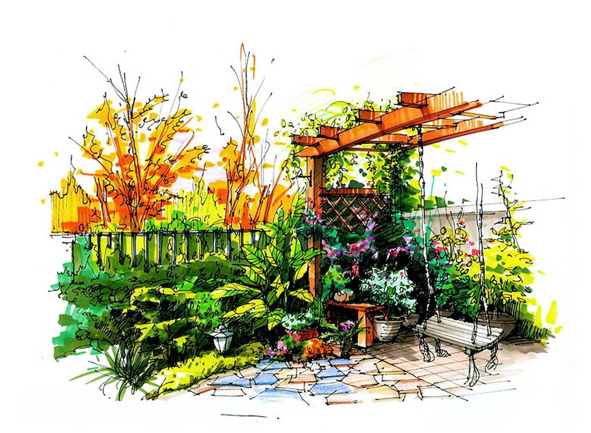 别墅花园景观手绘效果图大全