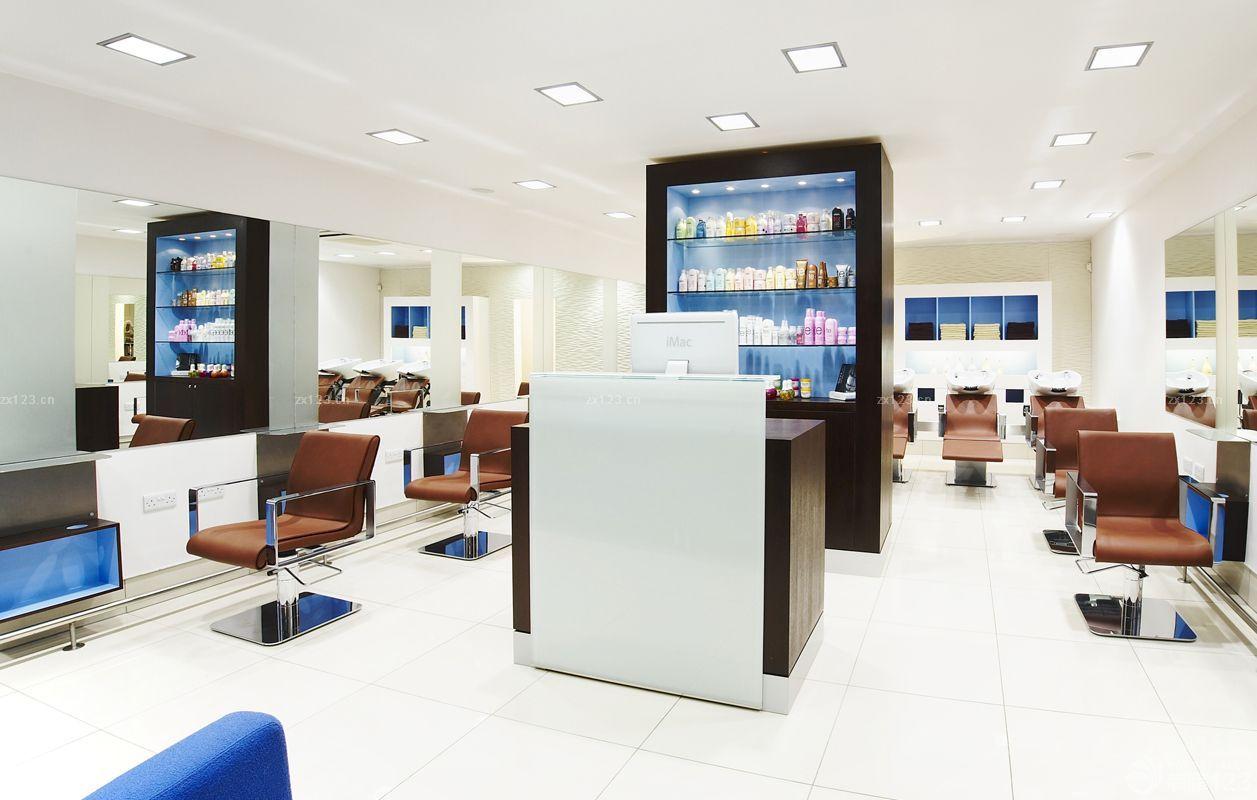 现代风格高端理发店吧台装修样板大全