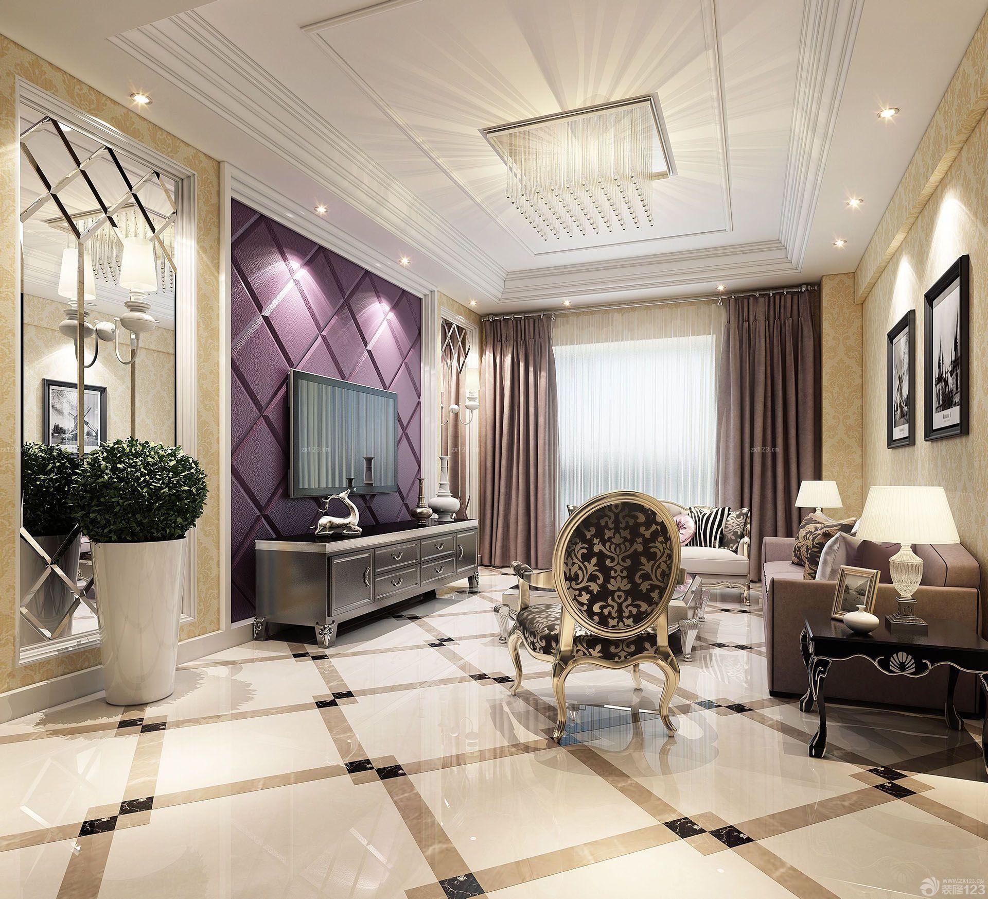 现代欧式风格厨房白色橱柜地面瓷砖效果图大全_2016 .