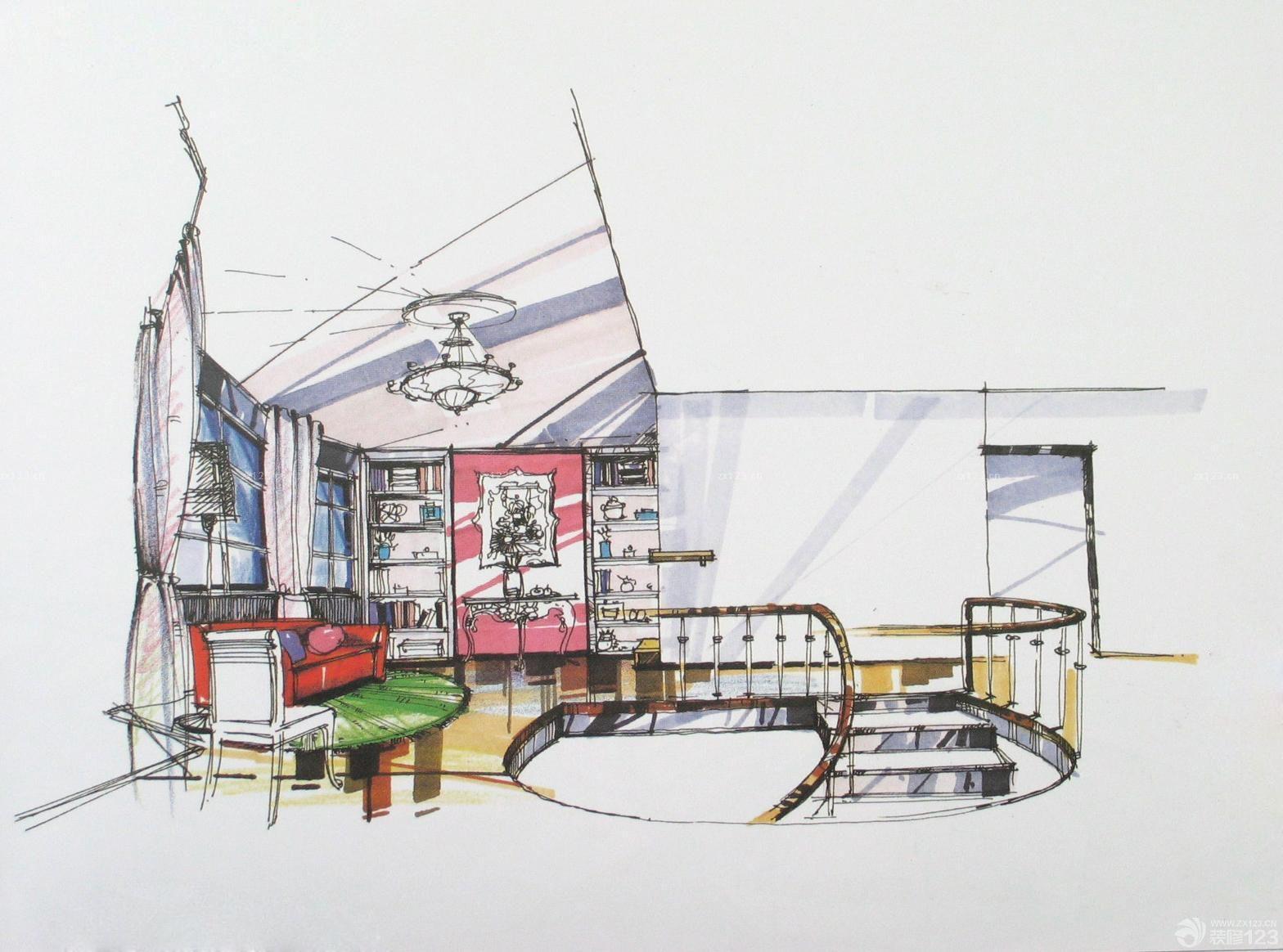 最新展厅欧式阁楼手绘效果图片