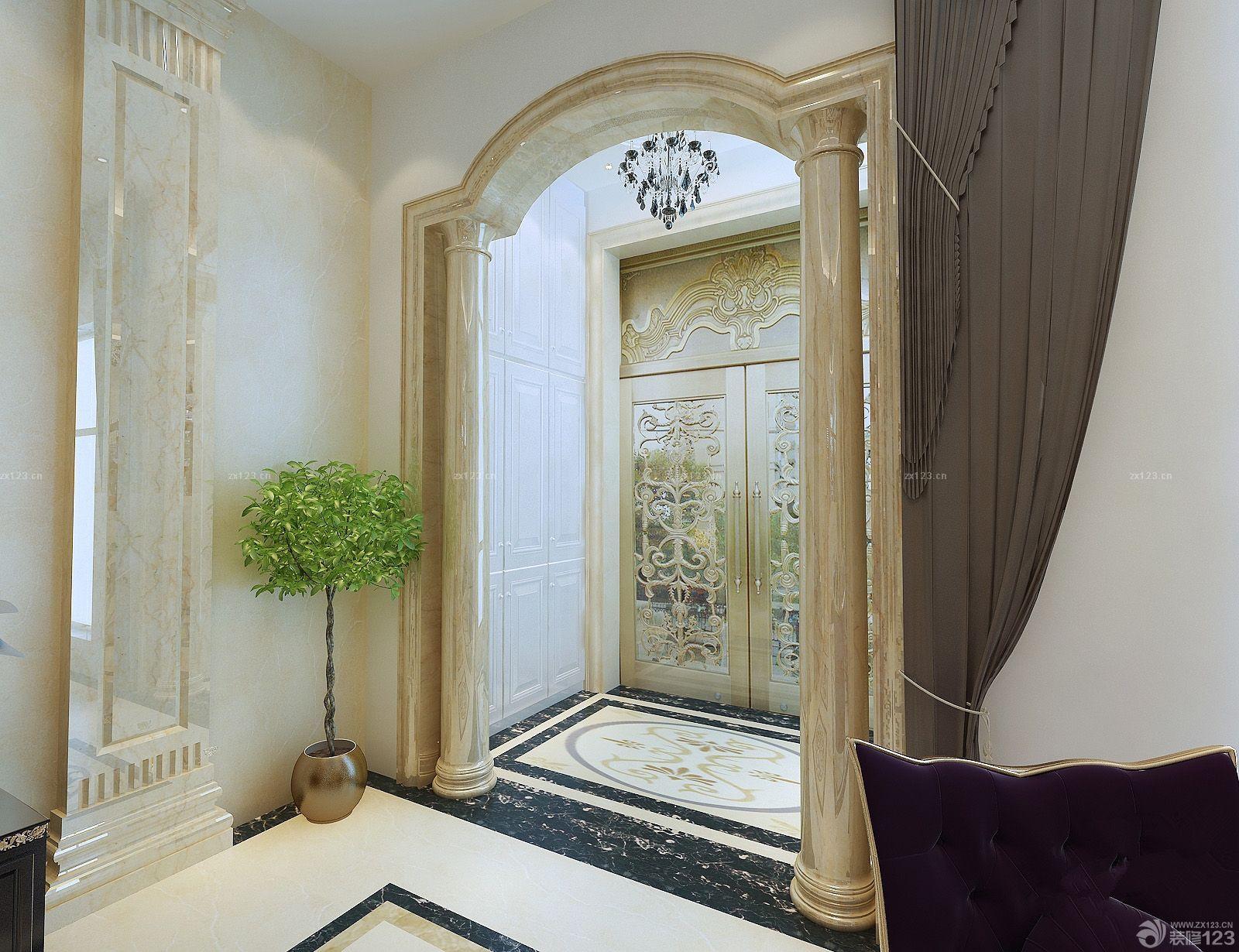 别墅入户玄关欧式罗马柱装修图片欣赏