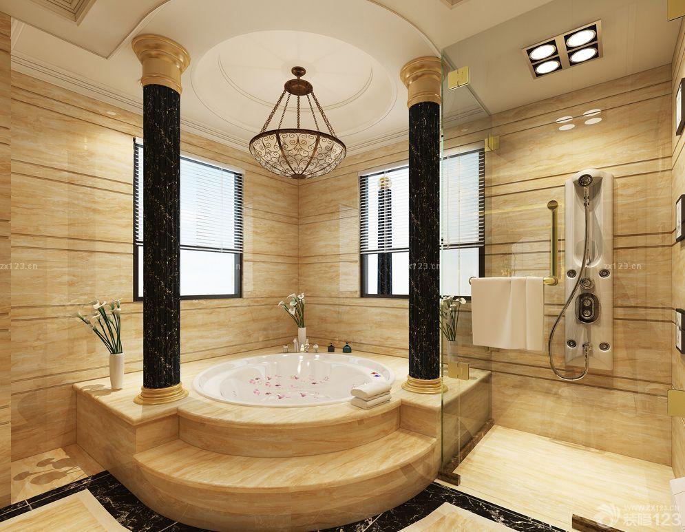 最新浴室欧式罗马柱装修设计效果图