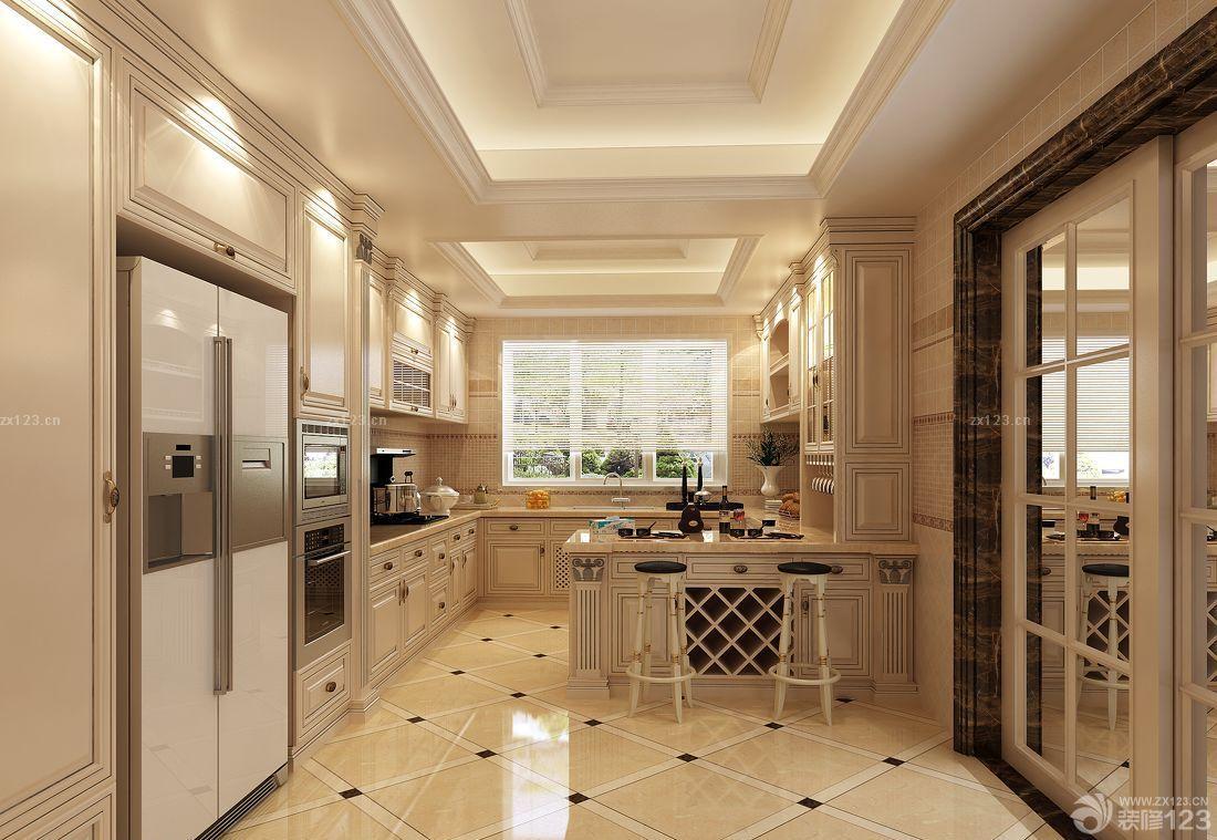 美式别墅家庭厨房门装修效果图片