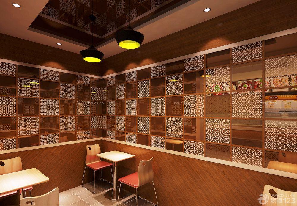 中式快餐店镜面吊顶装修效果图