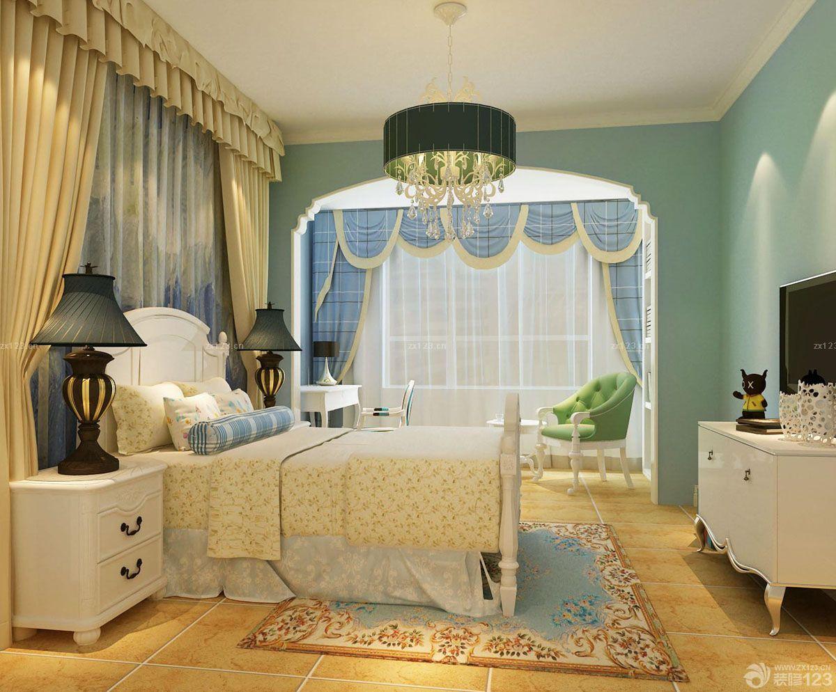 欧式风格卧室地中海风格窗帘装修设计图
