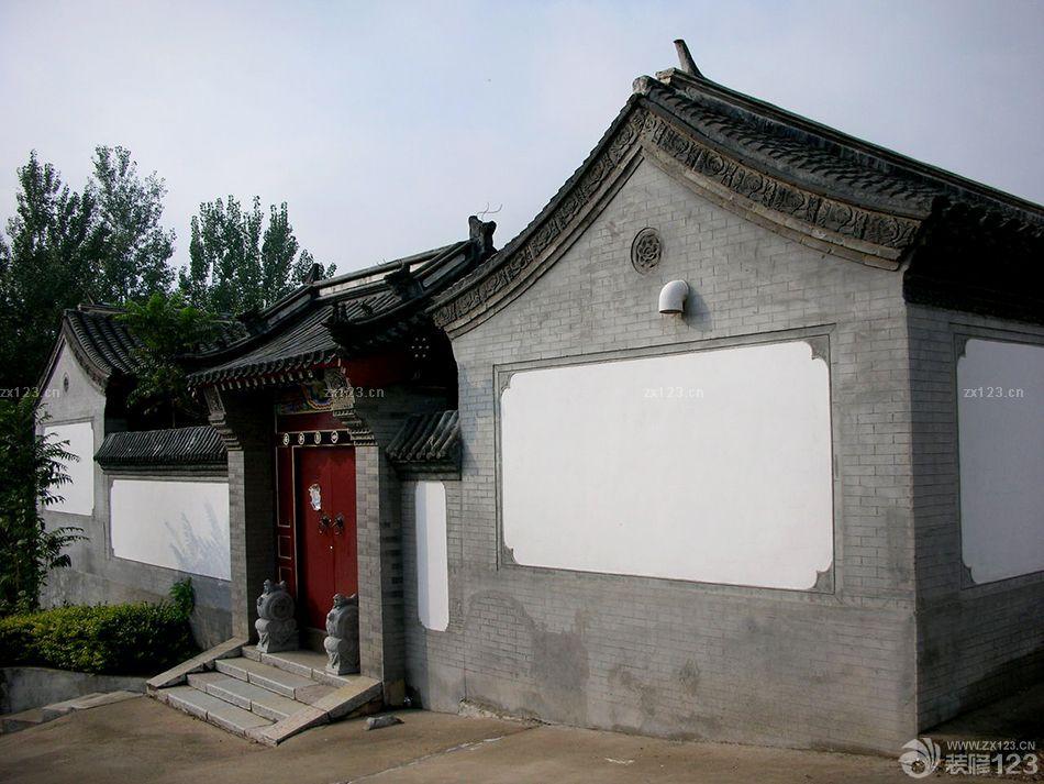 蓝色大门壁纸_简约中式风格庭院围墙设计效果图欣赏_设计456装修效果图