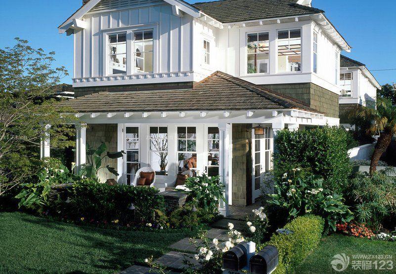 二層美式鄉村別墅外觀設計圖紙及效果圖大全