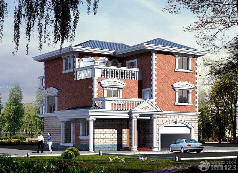 现代时尚农村别墅小洋楼外墙瓷砖效果图片 设计456装修效果图